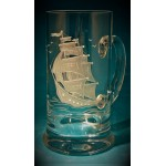 Bierkrug  mit Gravur Segelschiff
